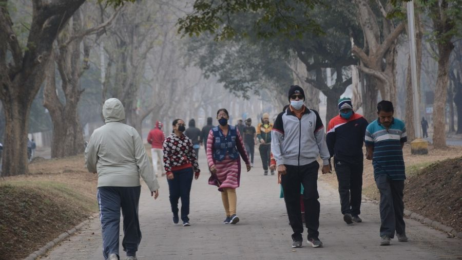 Morning walkers at Sonari-Kadma Link Road in Jamshedpur on Wednesday.