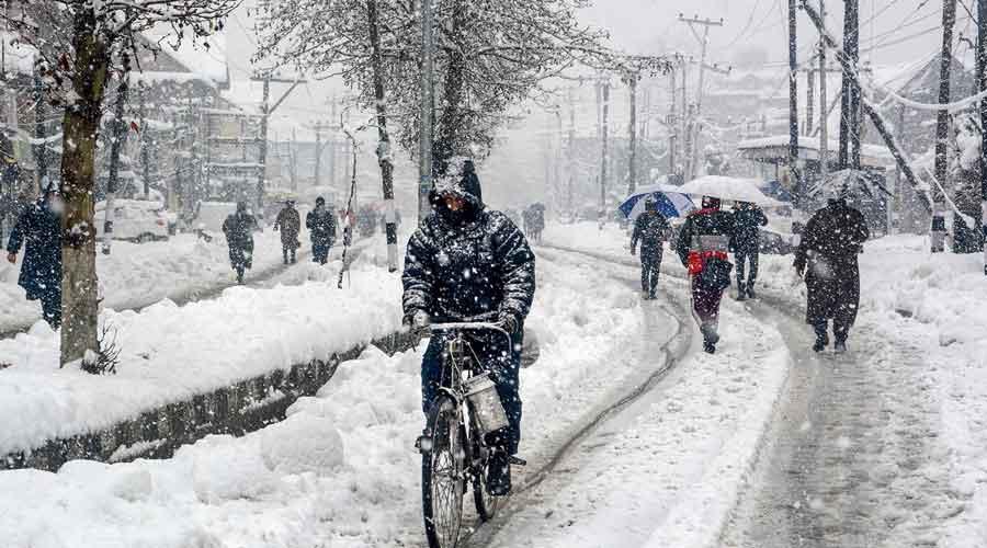 A snow-covered street in Srinagar last week