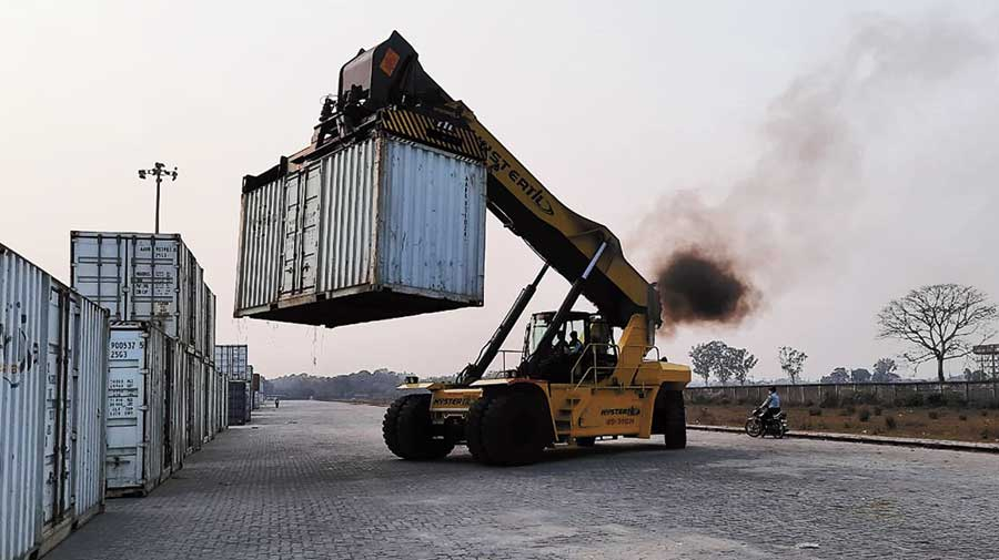 A hydra machine at the Inland Container Depot in New Jalpaiguri