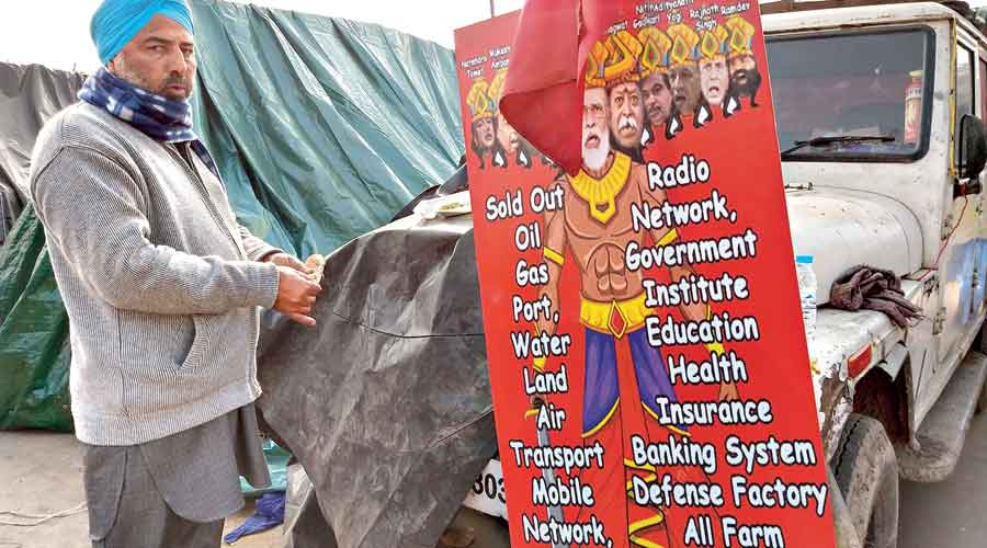 A poster depicting Narendra Modi as a Ravan who has sold government assets