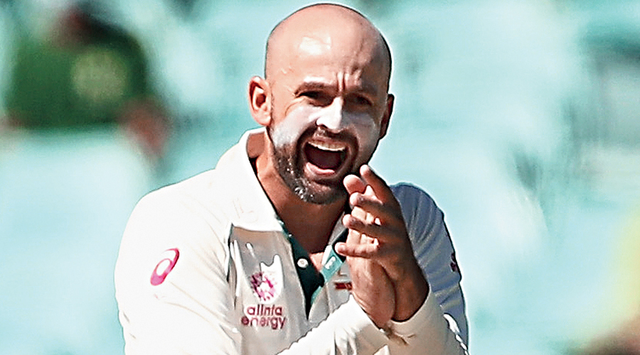 Nathan Lyon celebrates a dismissal during Day V of the third Test.