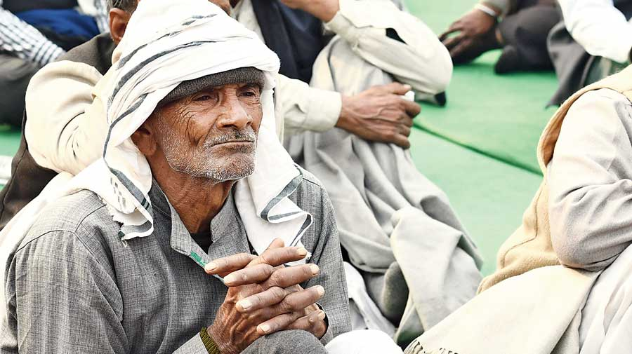 A protesting farmer at  the Ghazipur border on Thursday.