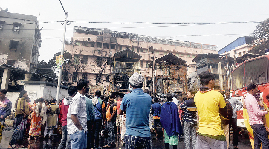 The charred remains of the shanties in Bagbazar on Thursday.