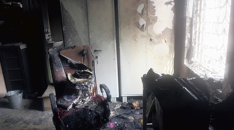 Rooms damaged in the fire at Udbodhan building.