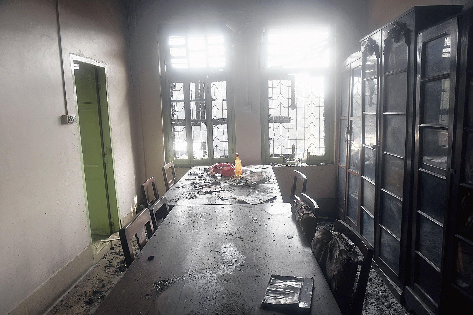 Rooms damaged in the fire at the Udbodhan building.
