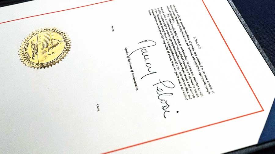 Speaker Nancy Pelosi's signature on the article of impeachment against President Donald Trump.