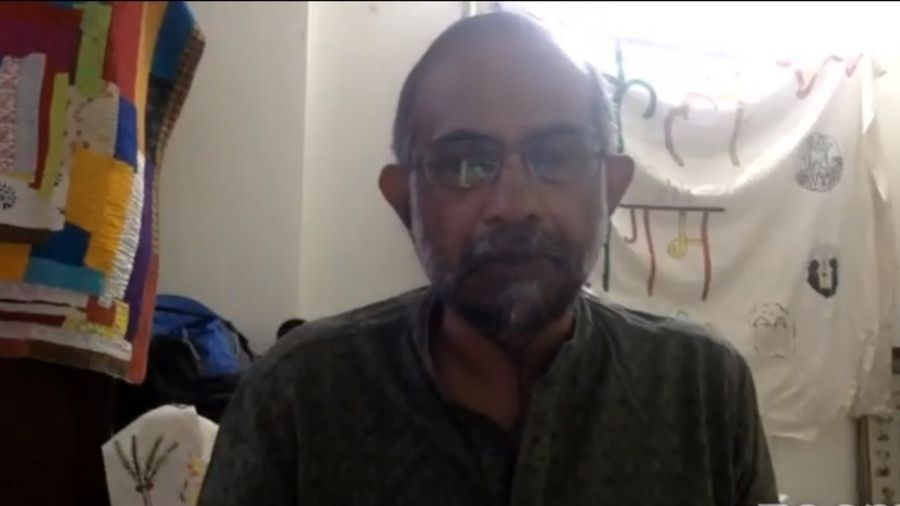 Ashish Kothari delivers his lecture at an online XLRI event on Saturday.