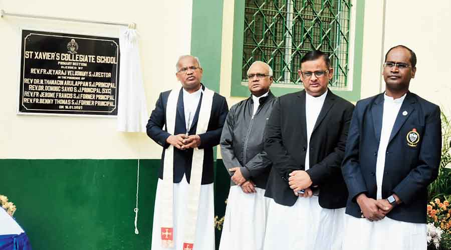(From left) Rev Fr Jeyaraj Veluswamy, rector of St Xavier's Collegiate School and St Xavier's College, Rev Fr Jerome Francis, former principal of St Xavier's Collegiate School, Rev Fr Dominic Savio, principal of St Xavier's College and Rev Fr M Thamacin Arulappan, principal, St Xavier's Collegiate School at the inauguration of the primary  section annexe at St Xavier's Collegiate School on Wood Street on Saturday