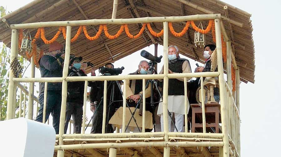 Bihar chief minister Nitish Kumar at the bird fest inauguration at the Nagi-Nakti sanctuary on Saturday.
