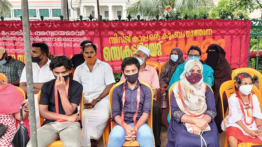 Raihanath Kappan (second from right) with her daughter Mehnaz, sons Zidane (to her right) and Muzzammil at the sit-in outside the Kerala state secretariat on Tuesday