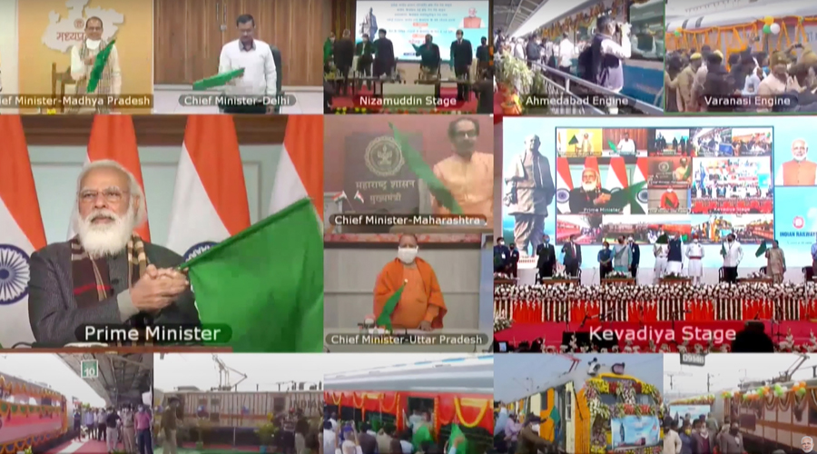 Prime Minister Narendra Modi inaugurates various projects relating to Railways in Gujarat, via video conferencing, in New Delhi on Sunday.
