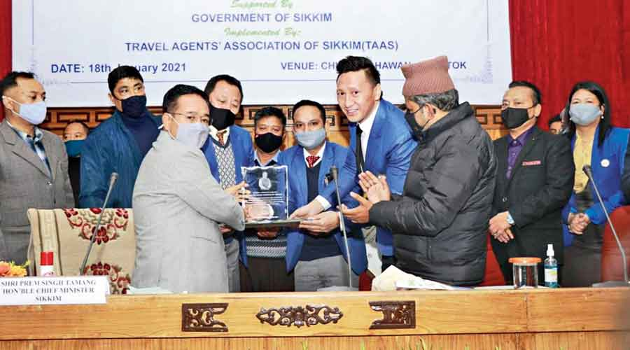 PS Tamang at the tourism event in Gangtok on Monday