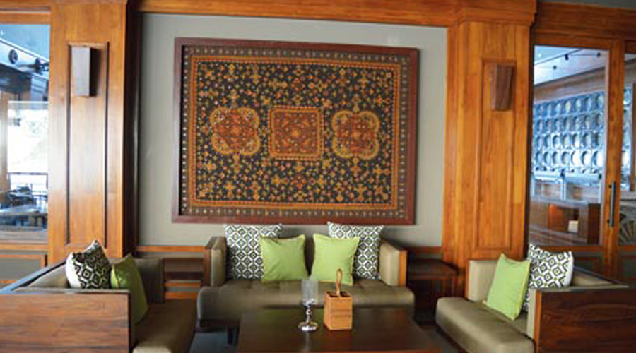 A framed fabric at Chia Veranda