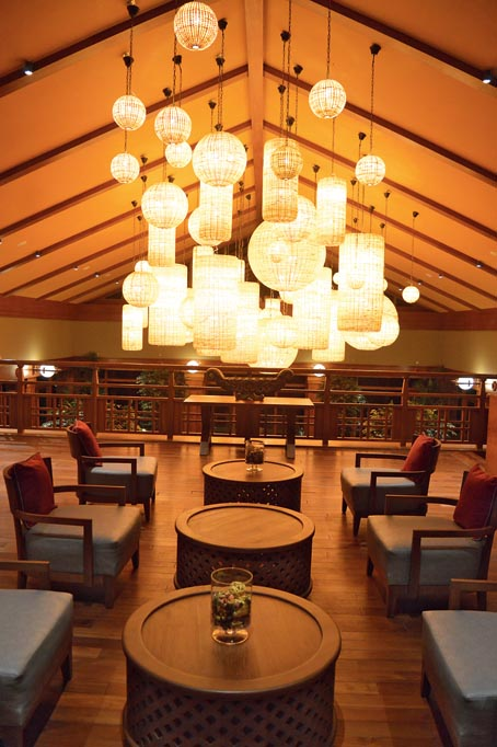 The statement lights at the lounge area