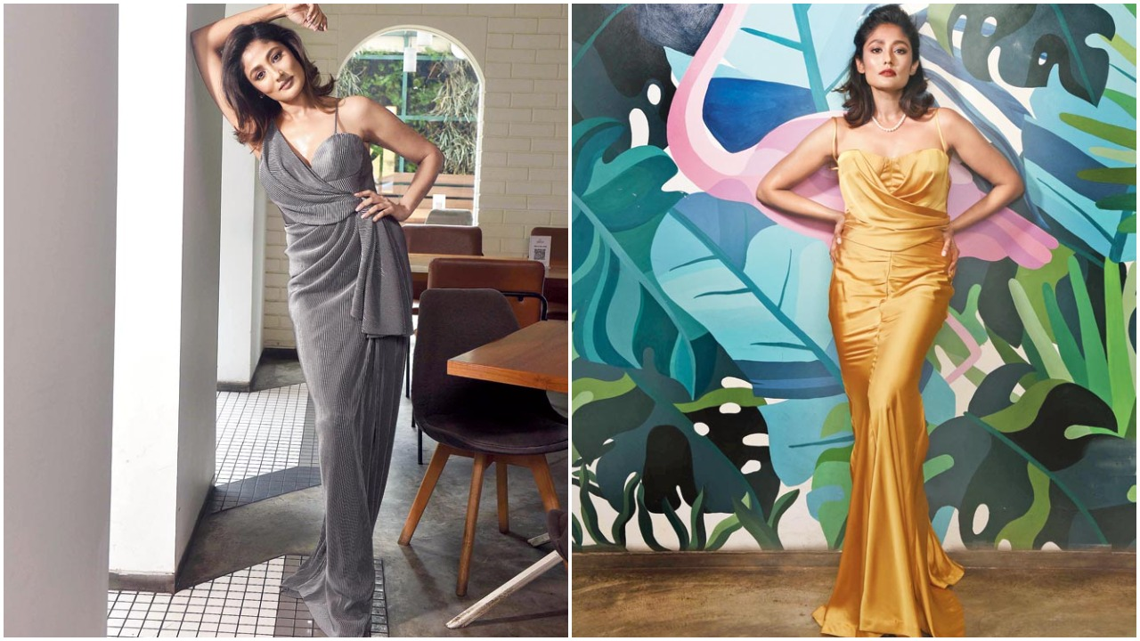 (L) Pamela in a space grey gown at The Daily. (R) She looks radiant in a silk-satin gown at The Daily