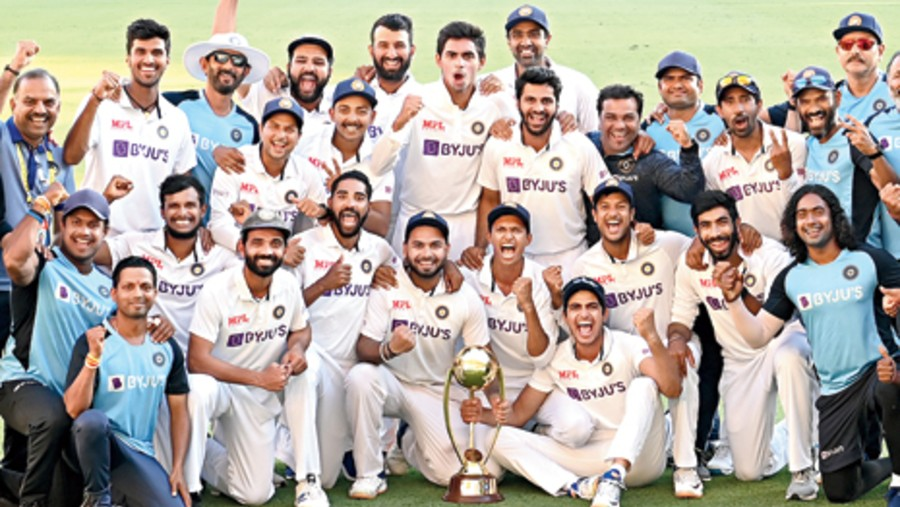The victorious Team India at the Gabba.