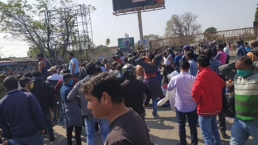 Protestors at Birsa Chowk after a police lathicharge in Ranchi on Friday.
