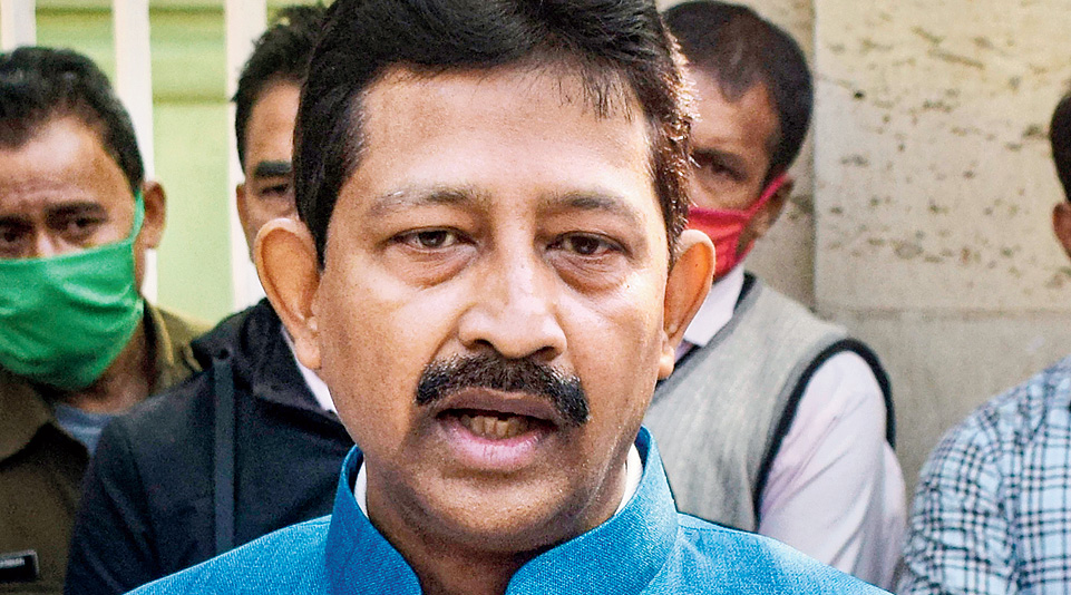Rajib Banerjee speaks to the media outside Raj Bhavan  in Calcutta on Friday.