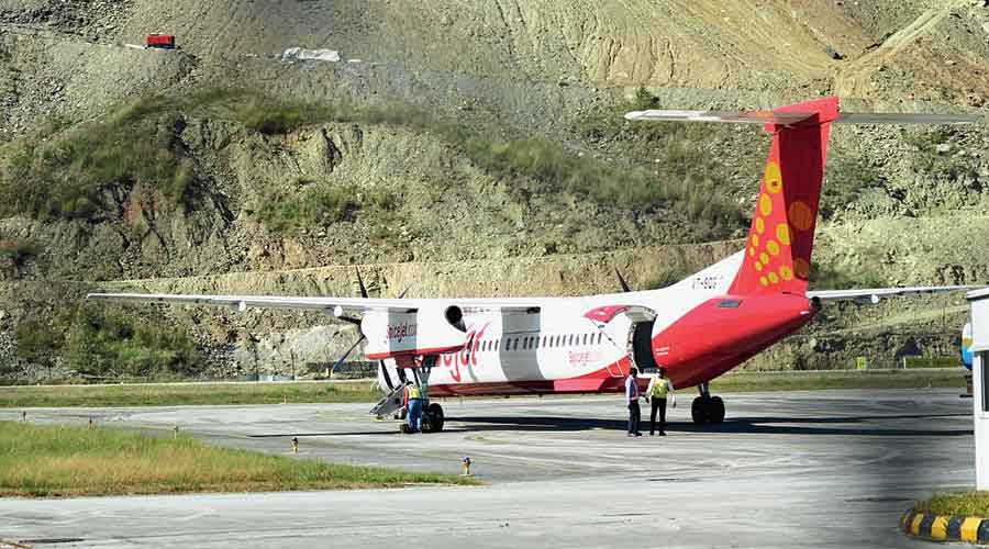 A SpiceJet flight at the Pakyong airport.