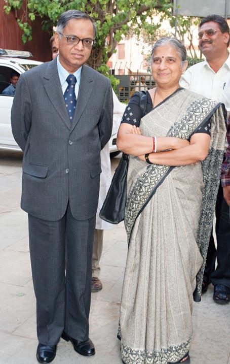 Sudha Murty, with husband Narayana Murthy