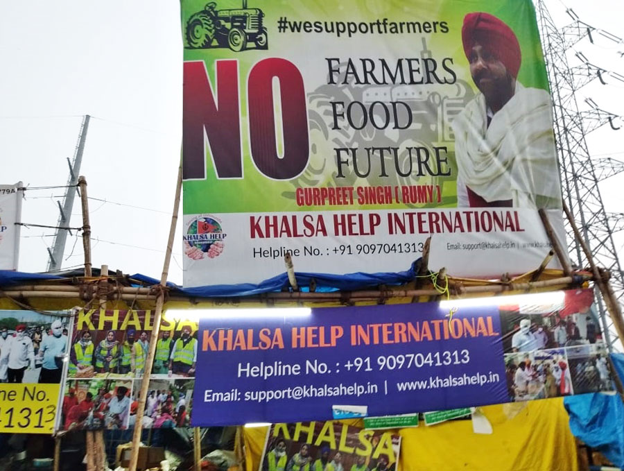 Banners at the Ghazipur protest site.