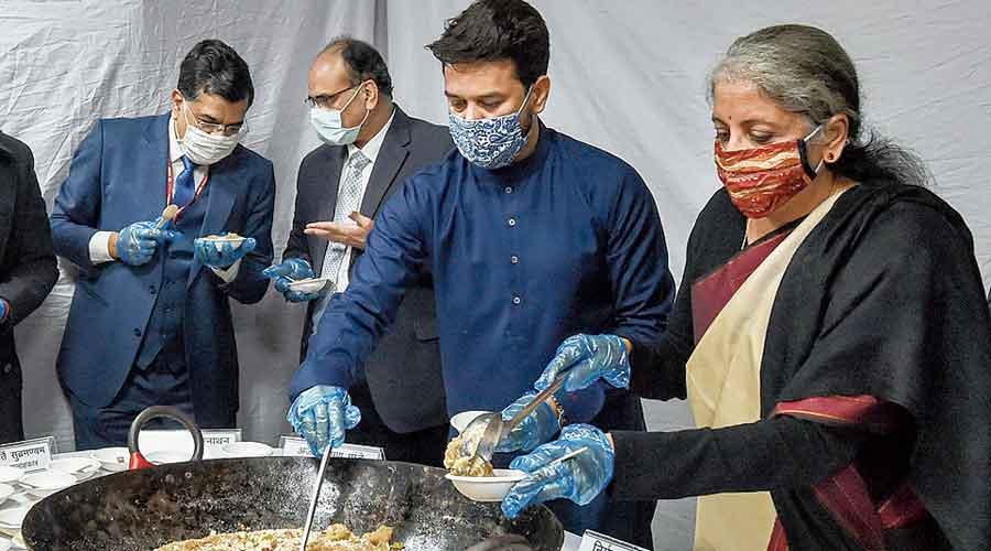 Nirmala Sitharaman at the Halwa ceremony in  New Delhi on Saturday