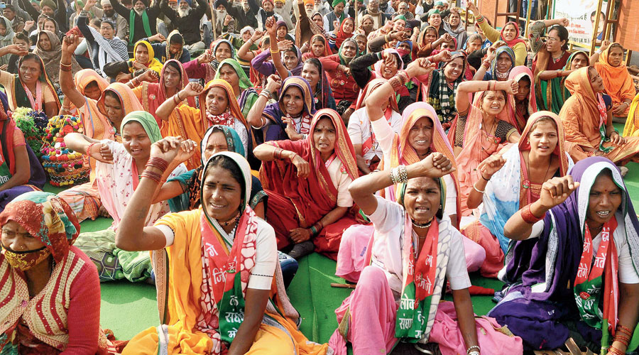 Women at the farmers' protest at the Ghazipur border on Saturday.