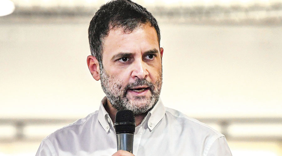 Rahul interacts with representatives of  MSMEs in Coimbatore  on Saturday.