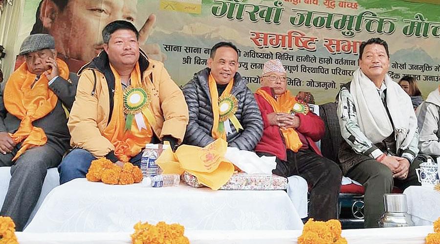 Bimal Gurung at the public meeting in Vah-Tukvar, on Darjeeling outskirts, on Sunday.