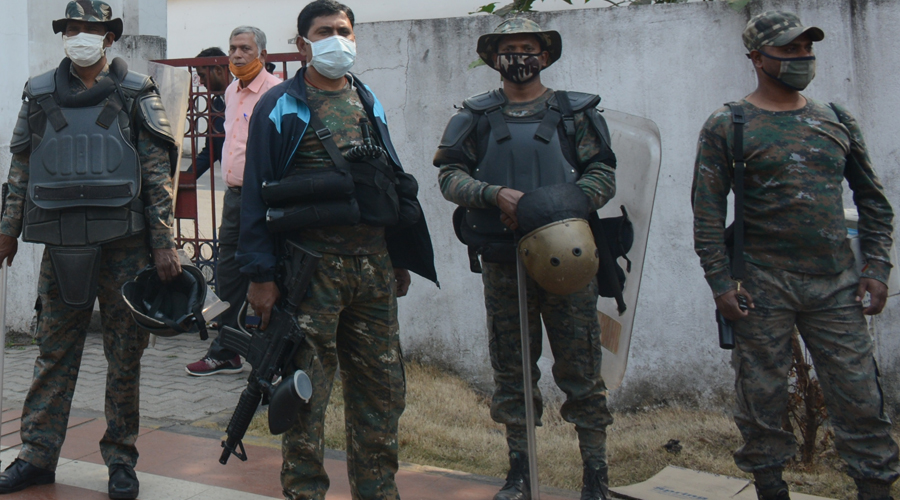 Security forces deployed near Bistupur thana in Jamshedpur on Monday.