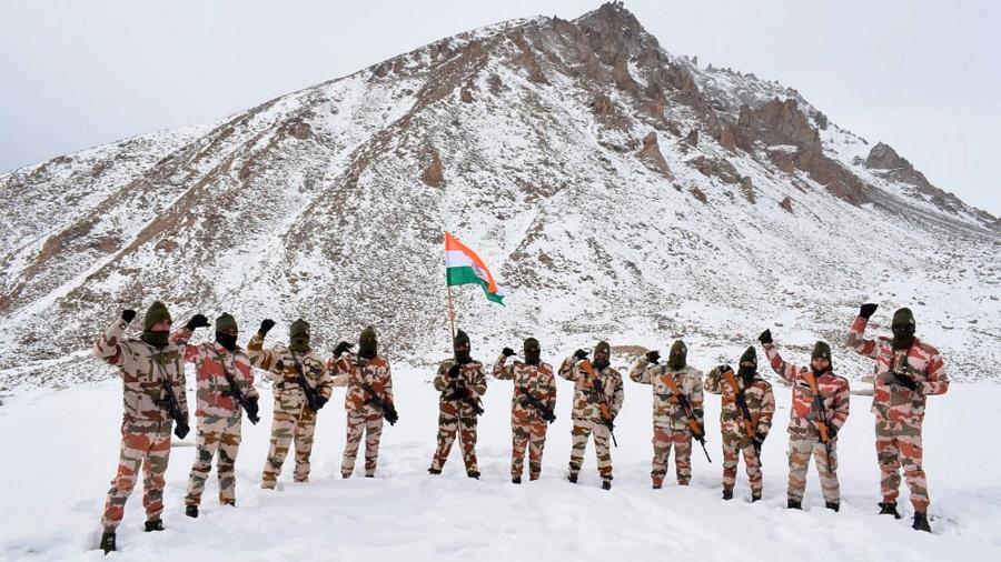 Indo Tibetan Border Police (ITBP) personnel celebrate Republic Day at a border outpost in Ladakh.