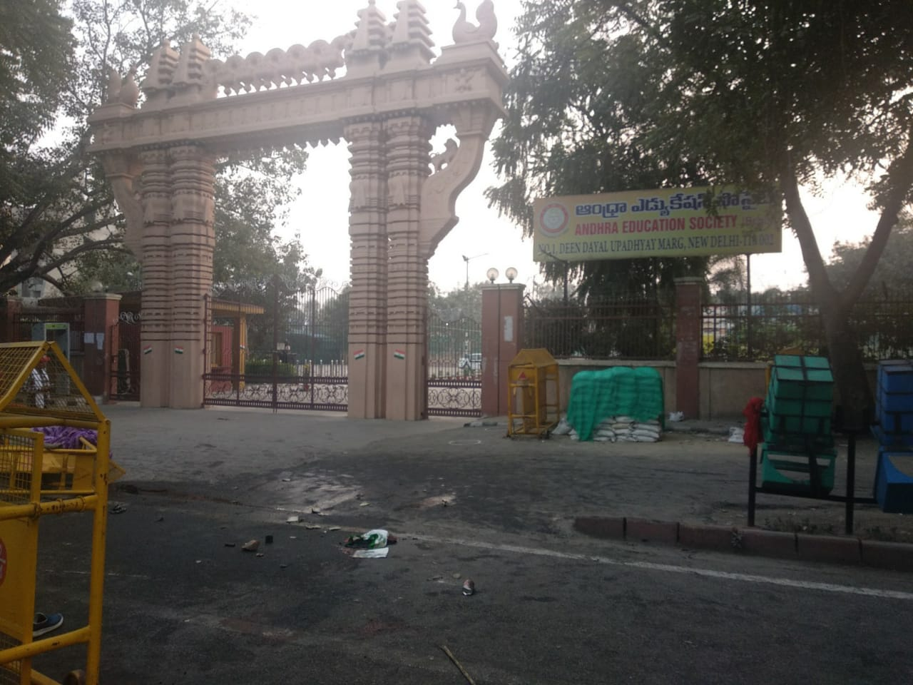 The spot in front of Andhra Education Society, next to Gandhi Peace Foundation office, where Navdeep died in Delhi on Tuesday.