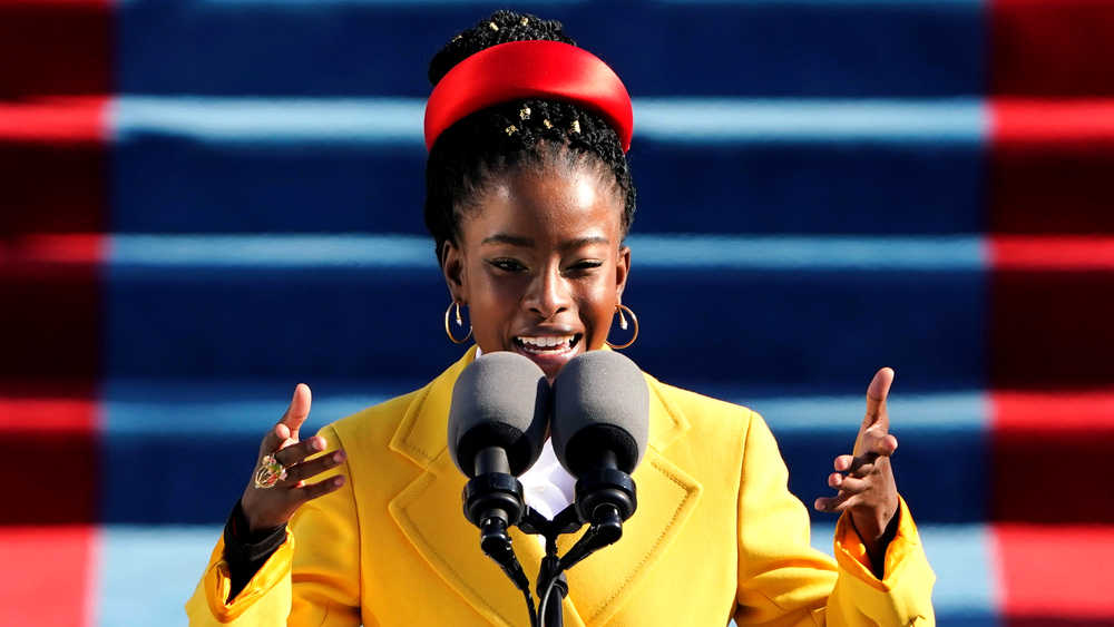 Amanda Gorman reads a poem during the 59th presidential inauguration, January 20, 2021.
