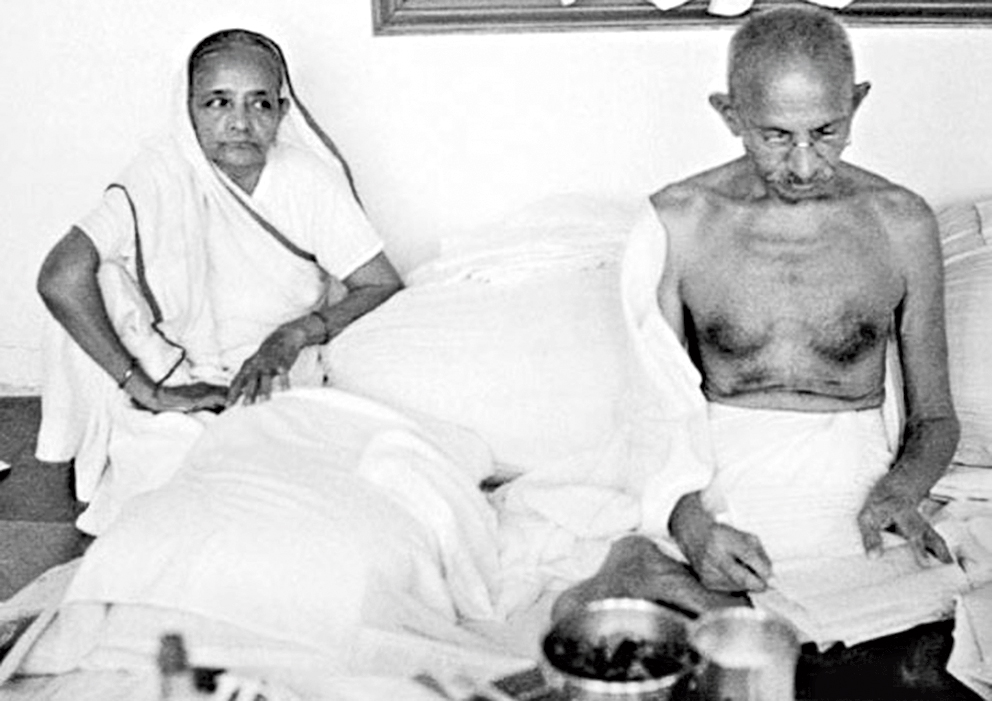 Kasturba and M.K. Gandhi.