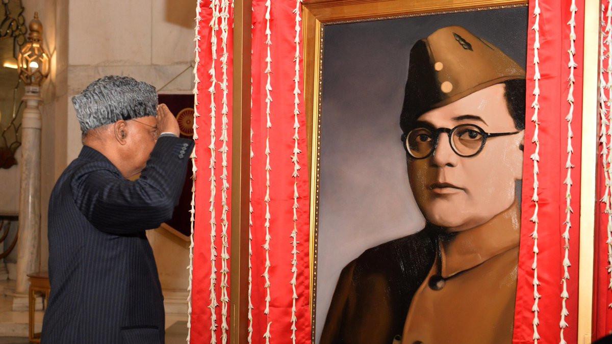 President Kovind unveils the portrait of Netaji Subhas Chandra Bose at Rashtrapati Bhavan to commemorate his 125th birth anniversary celebrations.