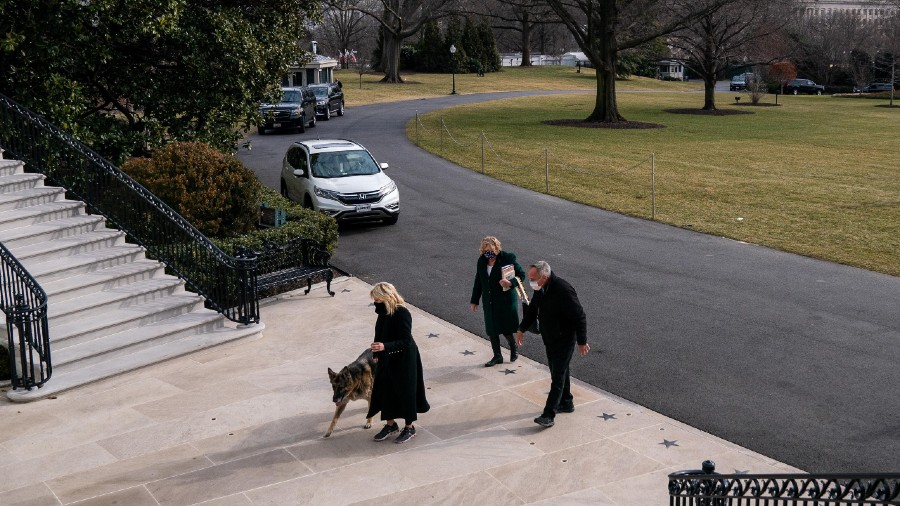 """Champ and Major have joined us in the White House!"" Dr Biden wrote on Twitter on Monday"
