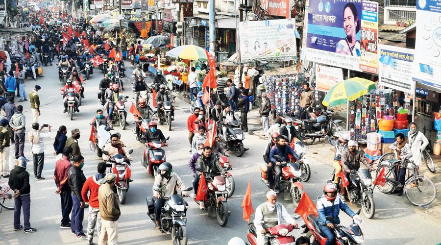 A bike rally at Krishnagar.