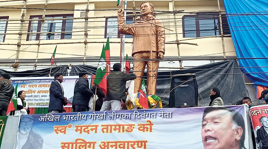Madan Tamang's statue after being unveiled  in Darjeeling on Tuesday.