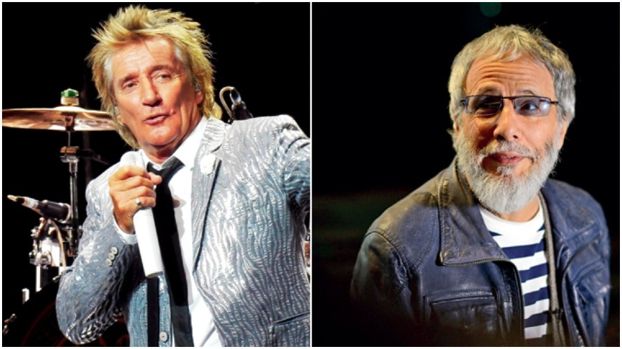 (L-R) Rod Stewart and Cat Stevens