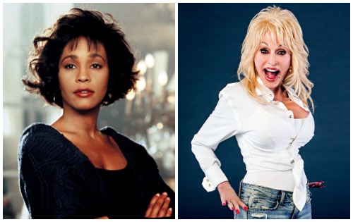 (L-R) Whitney Houston, Dolly Parton