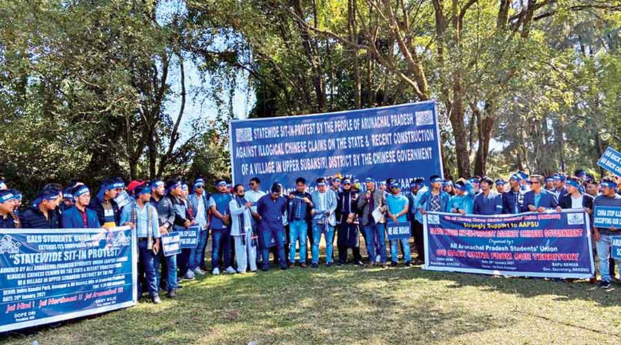 AAPSU members protesting in Itanagar on Thursday against China's claim over Arunachal Pradesh
