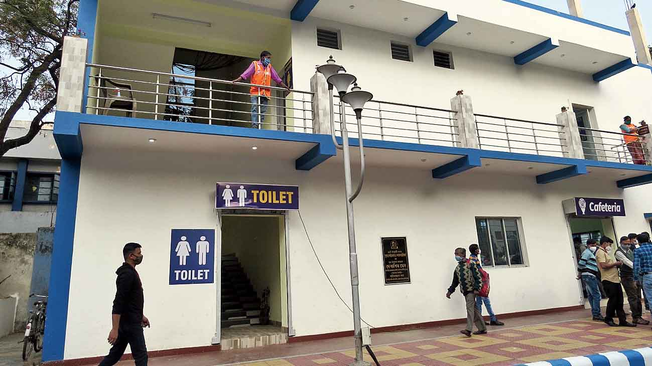 A toilet cum cafeteria block opened to serve examinees who come to TCS Gitabitan.