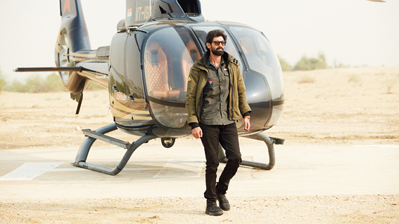 Daggubati gets off the chopper at the Border Security Force's Murar Post in Jaisalmer for Mission Fronline.