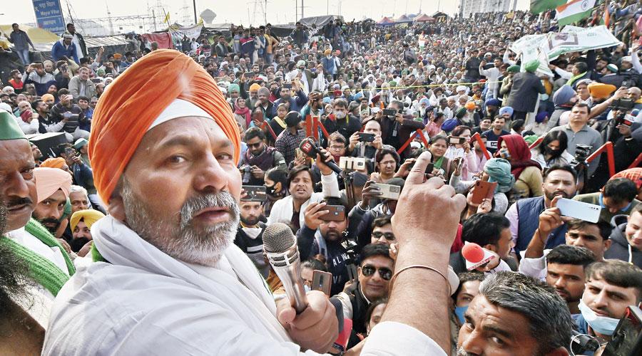 Bharatiya Kisan Union spokesperson Rakesh Tikait at the Ghazipur border near New Delhi on Saturday.
