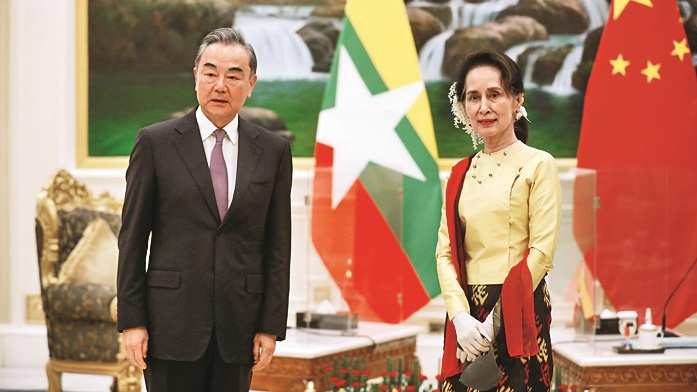 Wang Yi and Aung San Suu Kyi meet at Naypyidaw, Myanmar in January, 2021.