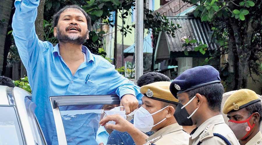 Akhil Gogoi outside the  NIA court in Guwahati  on Thursday.