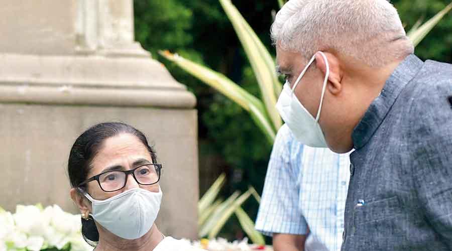 Mamata Banerjee and Jagdeep Dhankhar outside the Assembly on Friday