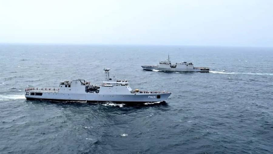 Indian, Sri Lankan navies during their joint naval operation in the Indian ocean.