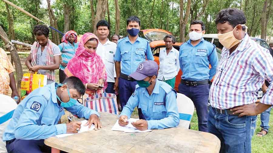 A Duare Police (police on doorstep) camp underway at Bhatar in East Burdwan on Saturday.