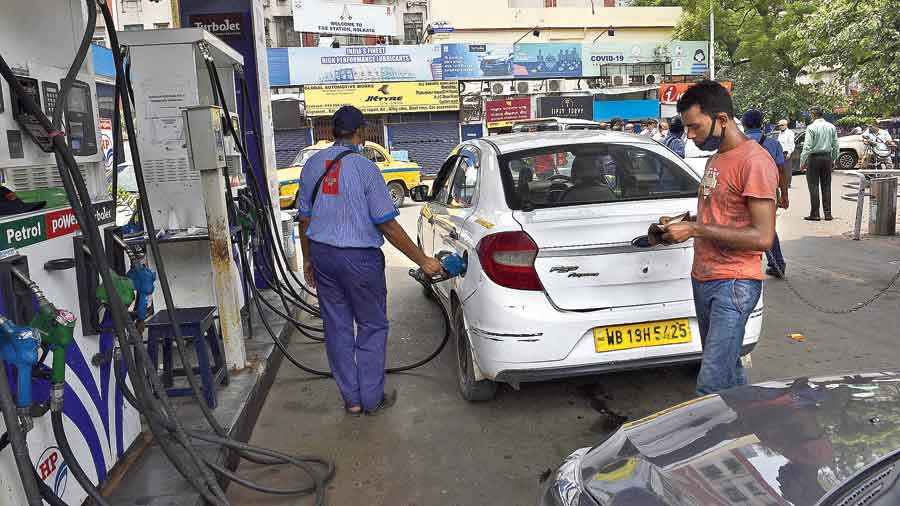A car at a fuel station near the Theatre Road crossing on Tuesday.